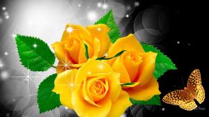 Drawn_wallpapers_Yellow_roses_and_butterfly_055816_